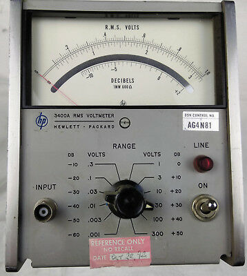 HP 3400A RMS Voltmeter Hewlett Packard 115-230v Electrical Voltage Meter Test