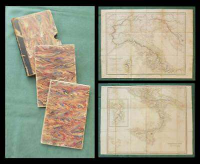 "1825 ""CRAMER'S ITALY"" - Two Sheet FOLDING MAP SET - ""Italia: Antiquae et Novae"""