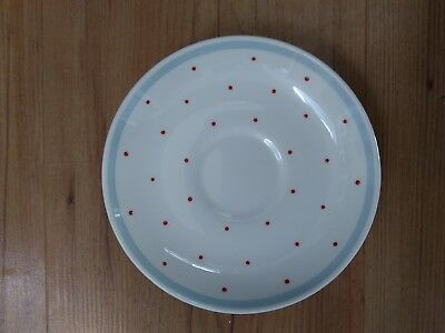 Vintage 1950s Susie Cooper Bone China Saucer Red Spot Pale Blue  VGC