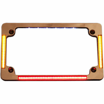 Custom Dynamics Chrome Flat Run Brake Turn License Plate Frame w/ LED's Harley