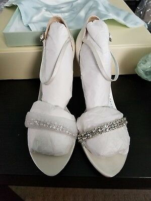 Grazia Catarina Diamond White Silk Shoes Size 7