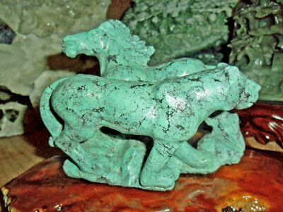 Chinese Turquoise Carving of a Horse and Tiger Large Beautiful Antique{Unique}
