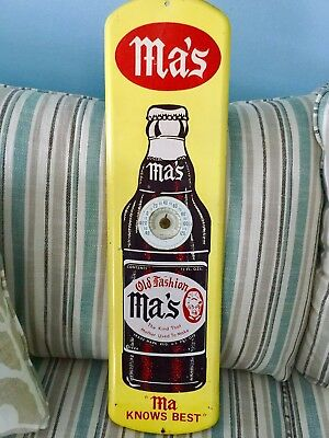Vintage Ma's Old Fashion Root Beer Tin Thermometer - Still Works!