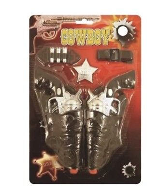 Wild West Cowboy Fancy Dress Gun Set Revolver Holsters Badge Belt New Toy UK SLR
