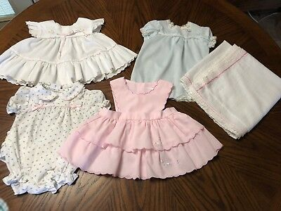 Vintage Baby 0-6 Months Pinafore and Bubble's Lot of 4 Plus blanket