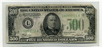 1934 $500 Paper Federal Reserve Note from the Bank of San Francisco, California