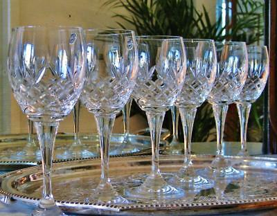 "Set of 6 Timeless BOHEMIA Crystal ""Beau"" wine glasses, New boxed."