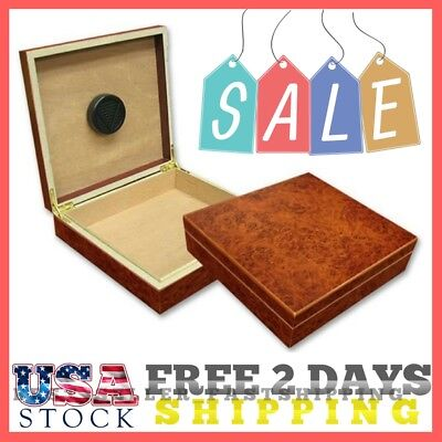 Cigar Humidor Case Box Holder Wood Travel Humidifier Burl 20 Cigars New Burl US
