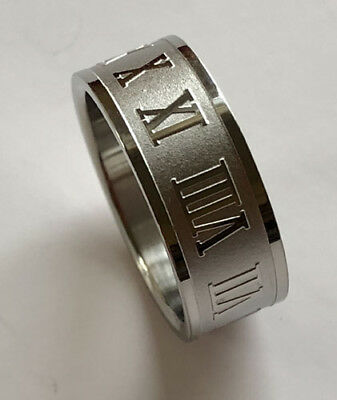 Men Women 316L Stainless Steel Roman Numerals 8mm Ring Band Size 5 - 12 NEW SS21