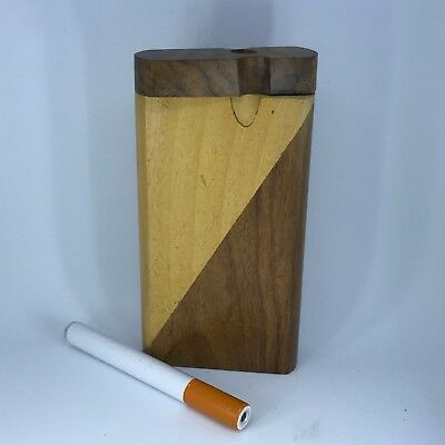 "#D12 New Handcrafted Handmade 4"" Wood Wooden Dugout Tobacco Holder Box & Bat~"