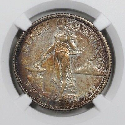 1944S USA-Philippines 50c Centavos Silver NGC AU55 Toned