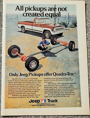 American Motors Jeep Truck Orig. Vtg 1974 Photo Ad, Rare Much Sought Collectible