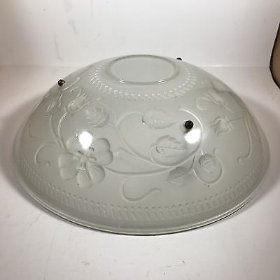 Vintage Art Deco Frosted White Glass Ceiling Lamp Shade Floral Design