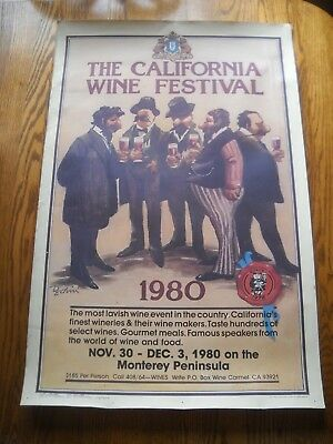 Original 1980 THE CALIFORNIA WINE FESTIVAL 92/200 SIGNED LIMITED EDTION POSTER