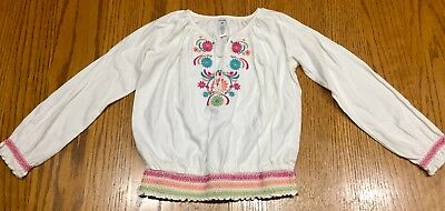 EUC Girls BABY GAP White & Multicolored Embroidered Long Sleeve Top~Size 5T