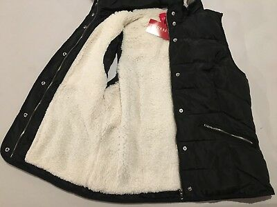 GUESS Vest Women's Sherpa Lined Hooded Puffer Vest Jacket w Fur Trim S Black NWT