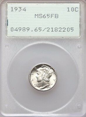 1934 P Mercury Dime PCGS Rattler MS65 FB Bright White Lustrous BU Full Bands OGH