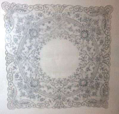 fine antique 1800's hand embroidered lace Belgian Brussels wedding handkerchief