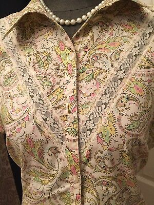 OSCAR BY OSCAR DE LA RENTA SKIRT AND BLOUSE , sz 16 paisley print with lace