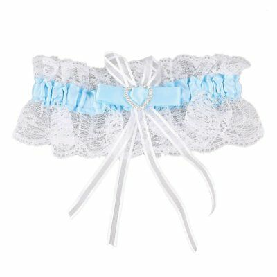 Ivory Satin Luxury Lace Bridal Fancy Bow Wedding Garter With Lucky Poem