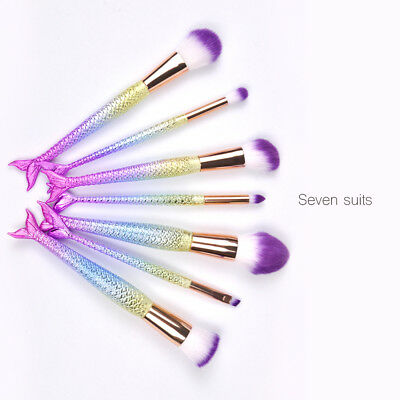 7 Pcs Mermaid Set Foundation Eyeshadow Makeup Brushes Lip Brushes Cosmetic