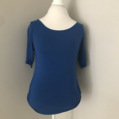 Womens A Pea In The Pod Blue 3/4 Sleeve Maternity Top Size Medium