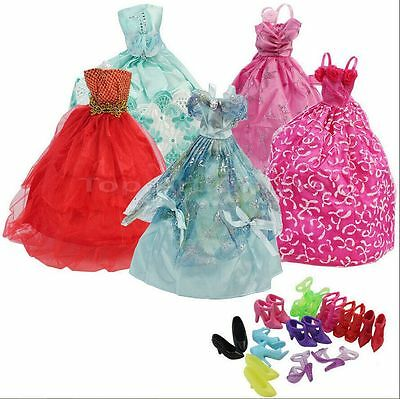 15 Items- 5Pcs Fashion Wedding Gown Dresses & Clothes 10 Shoes For Barbie DollLH