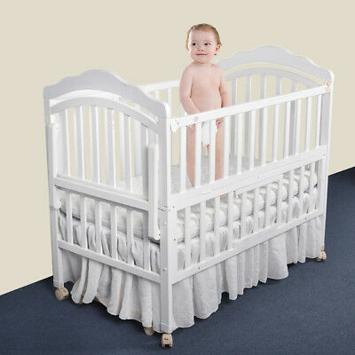 Solid Color Linen Bed Skirt Crib Cover Bedskirt Breathable Baby Safe Dust Ruffle