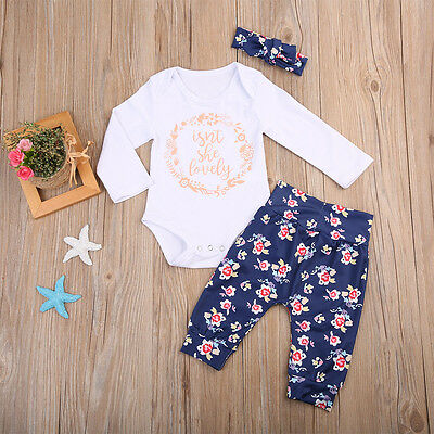 AU Newborn Baby Girls Tops Romper+Floral Pants Headband 3PCS Set Outfits Clothes