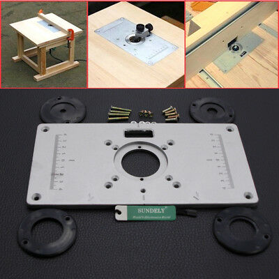 Hot 235x120 x8mm aluminum router table insert plate insert ring aluminum router woodworking table insert plate with 4pcs rings set 235x 120x 8mm greentooth Gallery