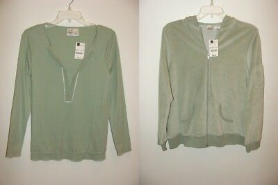 NEW Maternity size Small 4/6 S Hoodie Jacket & Top Lot Shirt Hooded Green Womens