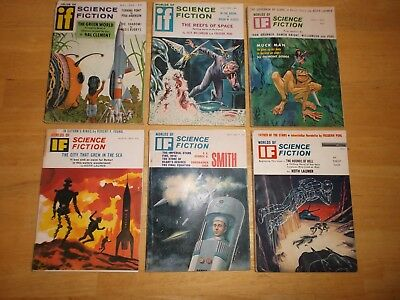 IF Worlds of Science Fiction (Lot of 6 Digest Magazines) 1963, 1964
