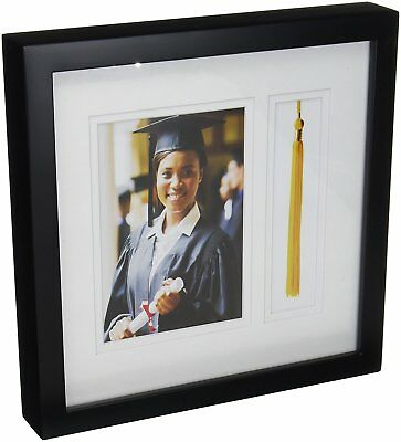 Shadow Box Picture Frame Real Mat Double Glass Graduation Photo Tassel Insert US