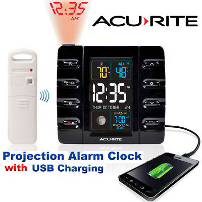 AcuRite Projection Alarm Clock w/ Temperature & USB Charging Intelli-Time