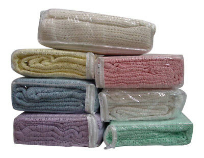 NEW 100% Pure Cotton Cellular Throw Summer Blanket Lightweight- Double