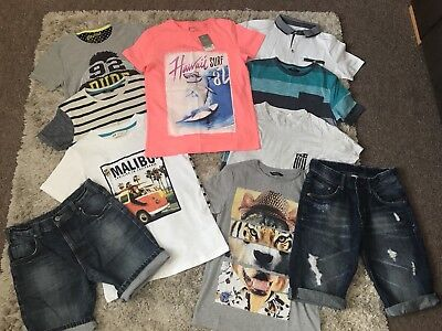 Large Boys Summer Clothes Bundle. Age 10-11. Denim Shorts And T Shirts.