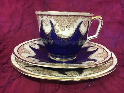 Vintage English Crown Staffordshire Blue, Gold & Floral Fine Bone China Trio Set