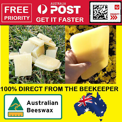 100% Pure Australian Beeswax Organic Natural Bees Wax unbleached - FREE PRIORITY