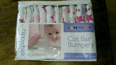 Hippychick Bumpsters Cot Bar Bumpers, Star Design - LARGE, PINK-PACK OF 10.VGC