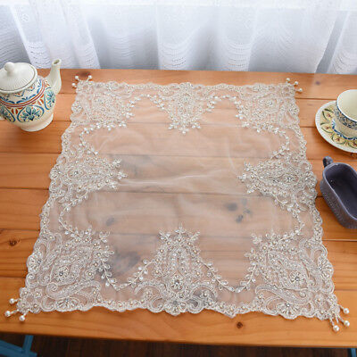 """Gorgeous Hand Bead Sequin Embroidery Ivory Sheer Table Topper 22"""" Clearance"""