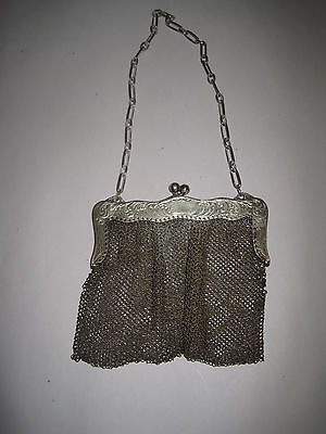 Antique Doll Or Child's Miniature Sterling Engraved Mesh Purse With Link Chain