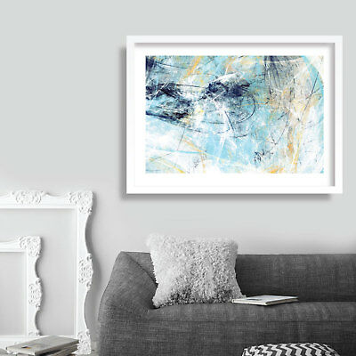 Abstract Painting Art Print Blue U0026 Yellow Contemporary Wall Art Poster Decor