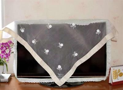 Lovely 3D White Rose Embroidery Square Sheer Border Table Cloth 100cm