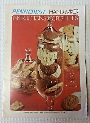 1970 Manual for PENNCREST, JCPENNEY Hand Mixer, Instructions, Recipes, Hints