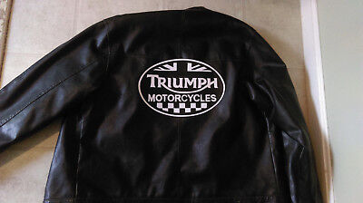 """Triumph Motorcycle checkered oval back patch. 11"""" Synthetic leather. Nice New"""