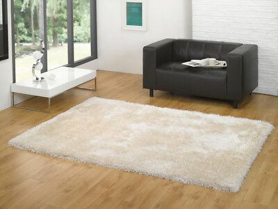 Ivory Cream PLAIN & SIMPLE Thick Deep Pile Luxury Super Soft Shaggy Rugs in XS-L