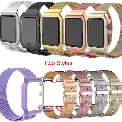 Milanese Stainless Steel iWatch Band Strap+Cover Case F Apple Watch Series 3/2/1