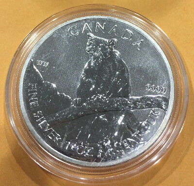 2012 1 oz Silver Canadian Cougar (Wildlife Series)