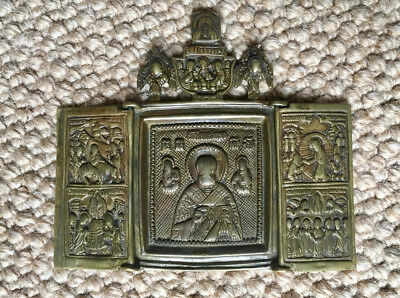 ANTIQUE BRASS TRAVELING TRAVEL RUSSIAN TRIPTYCH ICON St Nicholas