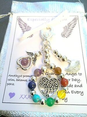 CHAKRA Healing Crystal Gemstone Angel Charm Protection Bag Key RIng